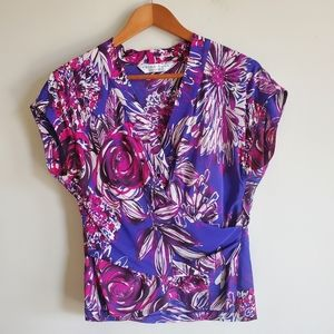 Trina turk faux wrap abstract floral top